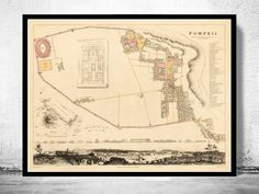 Vintage Map of Pompeii 1832  - product image
