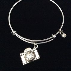 Crystal and Silver Plated Camera Charm Secured on an Expandable Bracelet. Handmade in America. Trendy. Stacking. Great Gift for that special Photographer, Wedding Photographer, or yourself! Meaningful