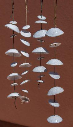 Carillon di vento in ceramica - Set di 4 piedi circa 2 1/2 ogni
