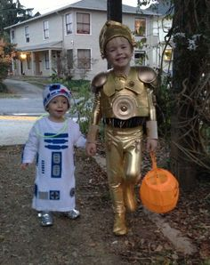 Homemade C3PO and R2-D2 costumes.