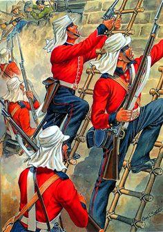 British Royal Marines scaling the walls of Taku Fort, Opium War