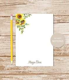 flowers botanical personalized stationery sunflowers note cards watercolor sunflower notecards folded stationary set of 10