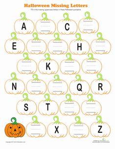 Halloween Kindergarten Letters Fine Motor Skills Worksheets: Halloween Alphabet