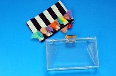 Pompom acrylic box clutch
