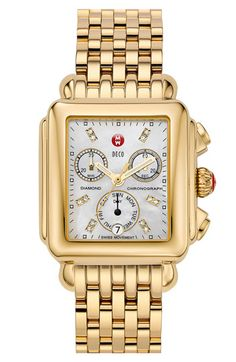 'Deco' Diamond Dial Gold Watch. Michele watch, only the best!!!