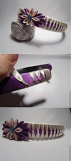 Оплетение ободка лентами с бусинами - Ярмарка Мастеров - ручная работа, handmade