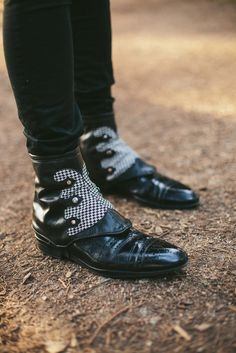 Men's spats-black and white houndstooth with rivets-Gustav. $98.00, via Etsy.