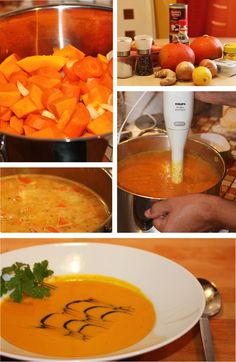 Kürbissuppe Asian Recipes, Healthy Recipes, Ethnic Recipes, Chowder, Food Inspiration, Soup Recipes, Curry, Food And Drink, Low Carb