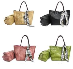 ladies scarves  | ... Sale Hot Crocodile Glossy Totes With Scarf Decorated Green Color 89825