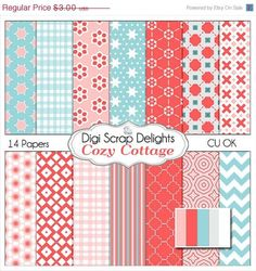 40 Off SALE Cozy Cottage Scrapbook Paper for by DigiScrapDelights,