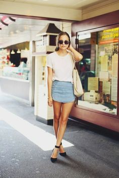 a40a6c8ed9a86 20 Modern Ways to Style a Denim Skirt for Spring - plain white t-shirt +  super mini denim skirt and chic black ankle strap heels