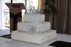 Textured bling square wedding cake