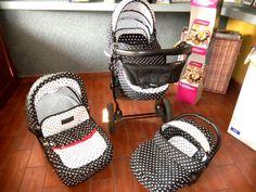 Wózek dziecięcy 3w1 czarny w białe kropki