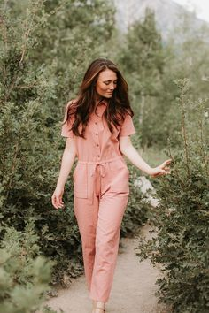 c024f365e31 The Wilmore Striped Button Up Jumpsuit in Navy