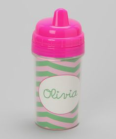 Look at this #zulilyfind! Pink & Green Zigzag Personalized Sippy Cup #zulilyfinds