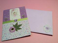Tarjeta decorada con flores secas!?,.