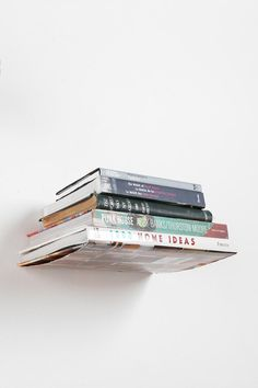 These are so cool!! Now all the books can be decoration Invisible Book Shelf #urbanoutfitters