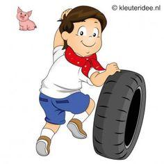 Spel 10: Wie haalt het eerst een nieuwe tractorband, speldag thema boerderij voor kleuters, kleuteridee.nl , farm games for preschool field ...