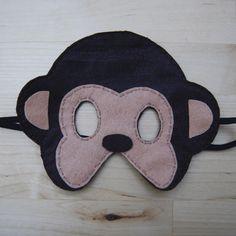 Globers Máscaras de animales en fieltro para niños. Mono. Cumpleaños y fiestas. Cool parties. Animals felt masks. Kids. Monkey