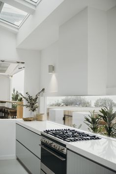 Modern Kitchen Interior Minimalist kitchen with panelled cabinetry Home Decor Kitchen, Kitchen Interior, Home Kitchens, Kitchen Dining, Kitchen Ideas, Design Kitchen, Kitchen Taps, Interior Livingroom, Interior Plants