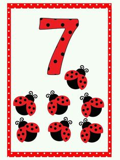 Number Flashcards, Flashcards For Kids, Kids Math Worksheets, 1st Grade Worksheets, Math Numbers, Math Activities, Baby Ladybug, Bug Crafts, Coloring Pages For Girls