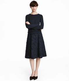Check this out! Flared, calf-length skirt in burnout-patterned jacquard-weave fabric. Concealed zip at back. Lined. - Visit hm.com to see more.