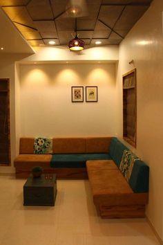 Studio appartment by Mitesh Antala, Interior Designer in Rajkot,Gujarat, India Drawing Room Ceiling Design, Wooden Ceiling Design, Drawing Room Interior, Ceiling Design Living Room, Home Room Design, Home Ceiling, False Ceiling Design, Living Room Designs, Design Bedroom