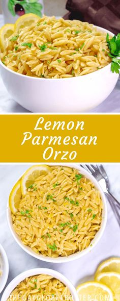 Side dish recipes 533324780873846193 - This lemon parmesan orzo recipe is a delicious side pasta dish that is full of flavor. It's reminiscent of Greek lemon orzo, filled with parmesan cheese and topped with lemon zest and parsley! Source by healingtomato Orzo Recipes, Lemon Recipes, Greek Recipes, Side Dish Recipes, Italian Recipes, Vegetarian Recipes, Cooking Recipes, Healthy Recipes, Meatless Pasta Recipes