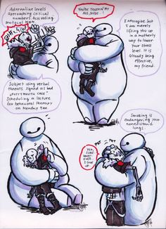 Underfell Sans (Or Gastersans? Or Underfell Gastersans? the red magic and the scars are throwing me off xD) and Baymax <3