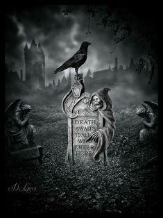 45 ideas for gothic love art graveyards Dark Gothic, Dark Gothic Art, Skull Art, Grim Reaper Art, Art, Graveyard Tattoo, Dark Art, Dark Fantasy Art, Halloween Art