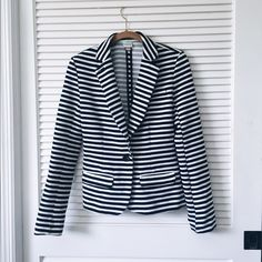 Navy & white stripped blazer Stripped blazer perfect for work looks or even a night out! Barely worn. Merona Jackets & Coats Blazers