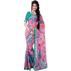 Georgette Lace Work Pink & Green #Floral #Print #Designer #Saree #StayTrendyWithIndiaRush