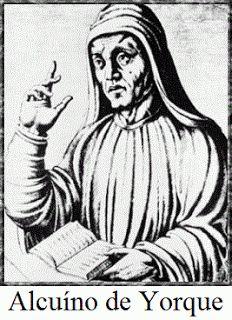 ALCUINO de Iorque | Fundou o Palácio-escola (Aula Palatina) de Aix-la-Chapelle, no qual eram ensinadas as sete artes liberais: o trivium, gramática, lógica e retórica; e o quadrivium, aritmética, geometria, astronomia, e a música. Contribuiu bastante para a Renascença carolíngia | É o patrono das universidades cristãs