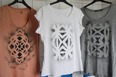 Aztec Inspired - Stenciled Instead of painting Aztec prints on a shirt, you can stencil them. The tutorial after the link shows you a way using plain paper. However, if that method does not work, you can always use freezer paper. It's my go-to material for simple stenciling projects. You can also use colored paints for your shirt instead of going for a plain sprayed look.
