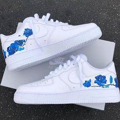 custom nike shoes Delicate Blue Rose Design Nike Air Force 1 B Street Shoes Zapatillas Nike Air Force, Nike Af1, Design Nike, Diy Design, Nike Shoes Air Force, Nike Air Force 1 Outfit, Custom Painted Shoes, Nike Custom Shoes, White Nike Shoes