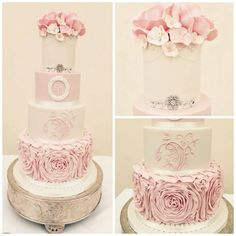 My amazing wedding cake! Pink, ivory, ruffles, flowers