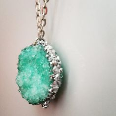 Silver Rimmed Turquoise Crystal Necklace