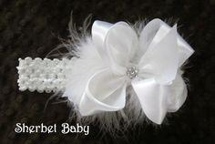 Swarovski Crystals Satin Marabou Hair Bow and Headband**12-