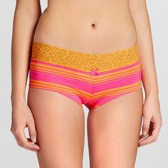 Women's Micro with Wide Lace Boyshorts Light Orange XL - Xhilaration
