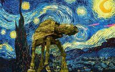 Van Gogh AT-AT night