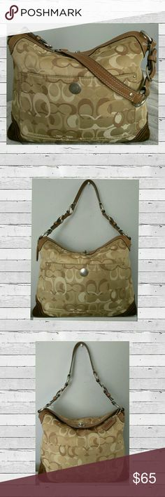 """👜🌻🌻Authentic Coach Chelsea Khaki Optic Hobo Bag 🌻🌻 Beautiful Authentic  Coach TriColor Khaki Optic Signature Hobo Shoulder Bag Good Condition See Photos Fold Over Top Turnkey Latch Closure Outside Front Slip Pocket Adjustable Leather Strap Two Cell Pocket's One Inside Zip Pocket Silver Hardware TriColor 10""""H X 11""""W X 3""""D Size Large  🌷Please Don't Forget Posh Takes 20%  🛍 Bundale 3 items & Save 15% 👍Make an  Reasonable Offer  Have any questions feel free to ask before ask before…"""