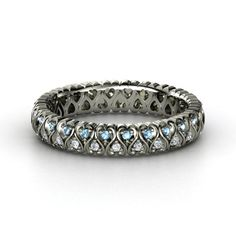 SO COOL.  14K White Gold Ring with Diamond & Blue Topaz   Cloaked in Hearts Band   Gemvara