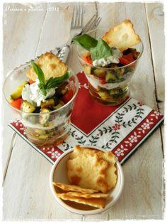 Bicchieri alle verdure e crema di caprino profumata al basilico | Pensieri e pasticci