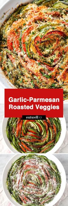 Clean eating roasted garlic-parmesan zucchini and tomatoes – a delectable side dish or a vegetarian lunch!