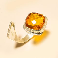 Designer Citrine 925 Sterling Silver Jewelry Ring Adjustable