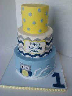 Owl Cakes, Cupcake Cakes, Cupcakes, Cakes And More, Beautiful Cakes, First Birthdays, Yellow, Blue, Chevron