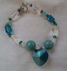 "Teal dangle heart Beaded 6"" Bracelet - https://www.etsy.com/shop/BHawkDesigns"