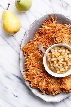 Crispy Potato Latkes with Spiced Pear Compote - A perfect recipe to celebrate Hanukkah!