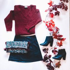OOTW Luv the shop || Burgundy Leafs Bell Sleeves, Bell Sleeve Top, Leather Skirt, Burgundy, Skirts, Shopping, Tops, Women, Fashion