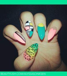 Pink Blue Yellow Mix #nails #nailart
